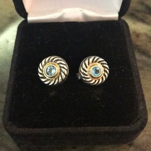 David Yurman 14k g/S.S. blue topaz Cookie earrings